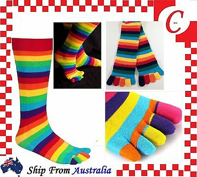 WOMENS GIRLS Kids Cotton KNEE HIGH TOE SOCKS Rainbow Stripe Party Costume Ball