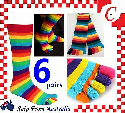 6Prs WOMENS GIRLS Cotton KNEE HIGH TOE SOCKS Rainbow Stripe Party Costume Ball