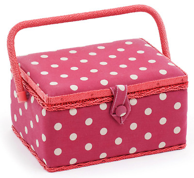 MEDIUM Sewing Box - Fabric Sewing Basket, Handle & Removable Tray Red Polka