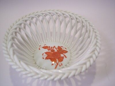 HEREND Braided Red CHINESE BOUQUET DISH Perfect