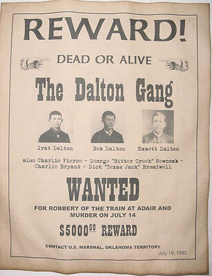 Dalton Gang Wanted Poster, Western, Outlaw, Old West