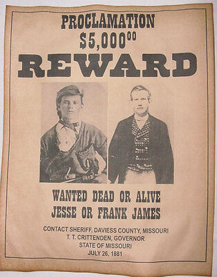 Jesse & Frank James Wanted Poster, Western, Outlaw, Old West