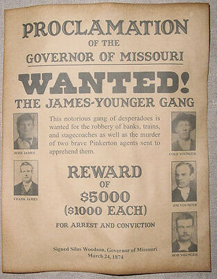 James-Younger Gang Wanted Poster, Western, Outlaw, Old West