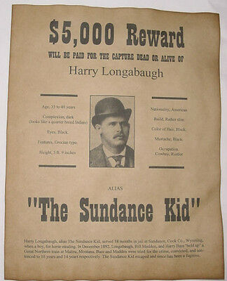 Sundance Kid Wanted Poster, Western, Outlaw, Old West