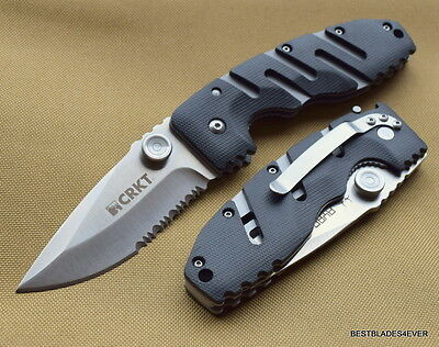 8 Inch Crkt Ryan Seven Tactical Folding Knife Serrated Blade With Pocket Clip