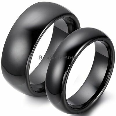 8mm / 6mm Polished Black Dome Ceramic Rings Couples Engagement Wedding Band