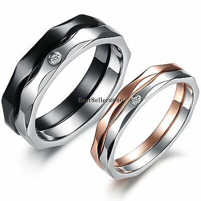 Stainless Steel Lovers Promise Ring Mens Ladies Engagement Wedding Band Lovers