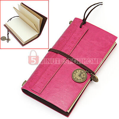 Vintage PU Leather Cover Ruler Bookmark Blank Notebook Journal Travel Diary Gift