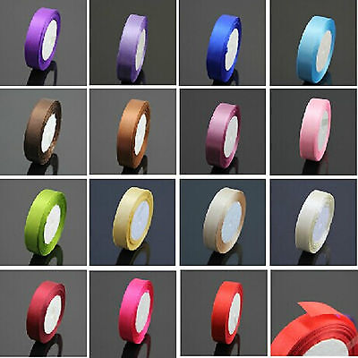 25 Yard 12MM Multicolor Satin Ribbon Wedding box bowknot adornment A