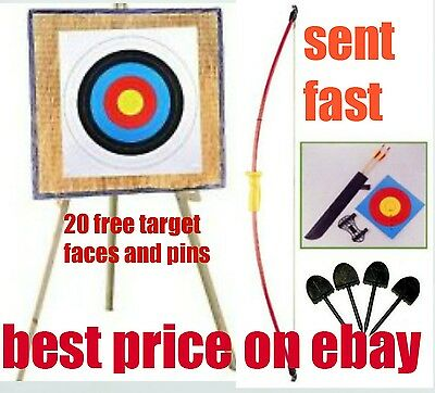"""Archery Straw Target 90x90cm 44"""" recurve bow wooden stand 20 free paper targets"""