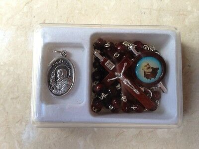 SAINT PADRE PIO WOODEN ROSARY BEADS + Padre Pio medallion GIFT BOX SET