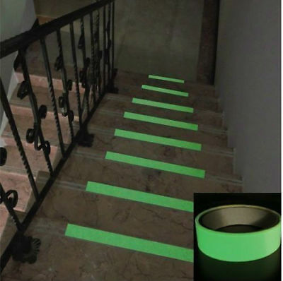 50mm x 3m Self Adhesive Glow In The Dark Safety Tape Luminous Multi Purpose Roll