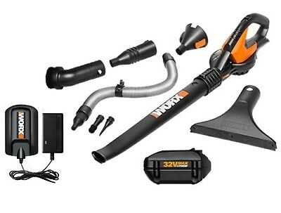 WG575.1 WORX 32V Cordless Lithium-Ion Single Speed Blower + 8 Attachments