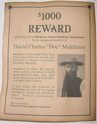 Doc Middleton Wanted Poster, Western, Outlaw, Old West