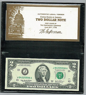 Two Dollar Federal Reserve Note In Vinyl Holder