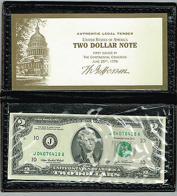 Two Dollar Federal Reserve Note In Leather Holder
