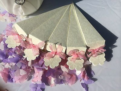 Ivory Confetti Cones Diamante Embossed Card - Wedding Favours Choose your amount