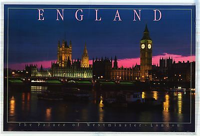 """LAMINATED 24X36"""" TOURISM POSTER 1986~The Palace of Westminster England London~"""