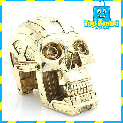3CPO Robot Machine Solid Skull Statue / Ornament Poly Resin Gold Metal Plated