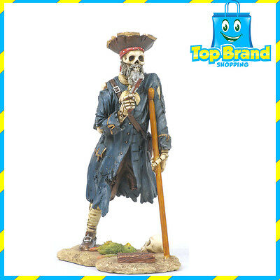 Captain Silver Pirate Statue/Figurine Poly Resin 7 inches Tall man cave one leg
