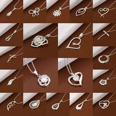 New Fashion Lady / Womens 925 Silver Charms Jewelry Pendant Necklace Chain+ Box