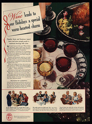 1940 CALIFORNIA Red & White Wine - Christmas Turkey - VINTAGE AD