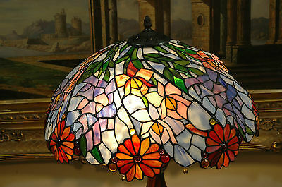"18""W Flowers Stained Glass Tiffany Style Jeweled Table Desk Lamp, Zinc Base!"