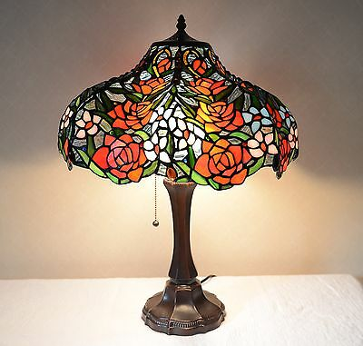 """18""""W Rose Flower Jeweled Stained Glass Tiffany Style Table Desk Lamp, Zinc Base"""