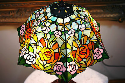 "16""W Roses Flowers Stained Glass Tiffany Style Table Desk Lamp, Zinc Base!"