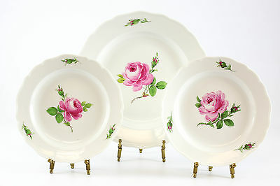 3pc Meissen Porcelain Rose Bud Dinner, and Bread & Butter Plate; Hand Painted