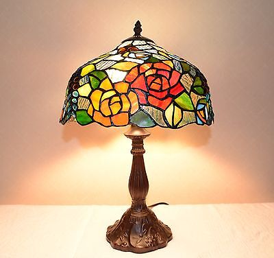 "12""W Flowers Stained Glass Tiffany Style Table Desk Lamp, Zinc Base!"