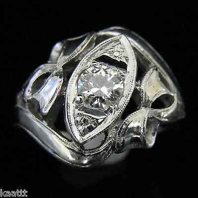 Antique Edwardian Old European Cut Diamond 14k White Gold Bow Desgn Ring Vintage