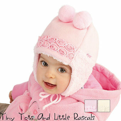 Baby Girl Girls Infant Winter Hat Christening Occasion Size 6 - 24 mths New!