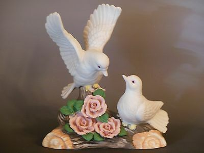 Porcelain Bisque Dove Birds Sitting on a Tree Stump with Flowers Figurine Figure