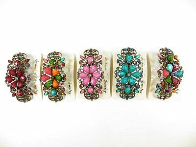 10pcs vintage inspired hair barrette with rhinestone crystals and faux gemstone
