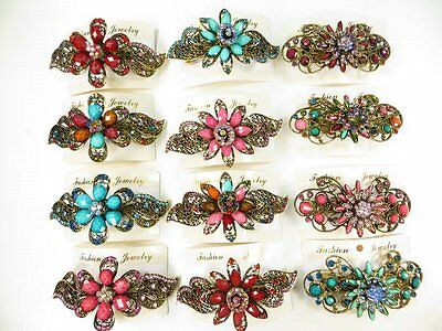 US Seller-lot of 10 vintage inspired hair barrette wholesale lot