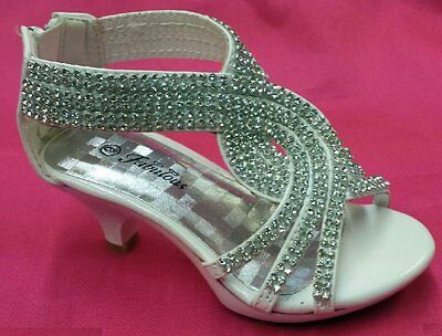 White Flower Girl Shoes Pageant Rhinestone Twist Bling Strappy Girls Heels Shoes