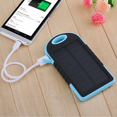 Waterproof 5000MAH Dual-USB Solar Power Bank Battery Charger for Galaxy S4 S3 S2