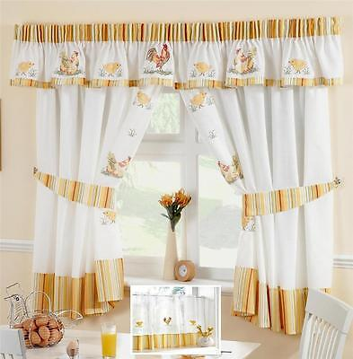 Chickens & Roosters Voile Cafe Net Curtain Panel Kitchen Curtains