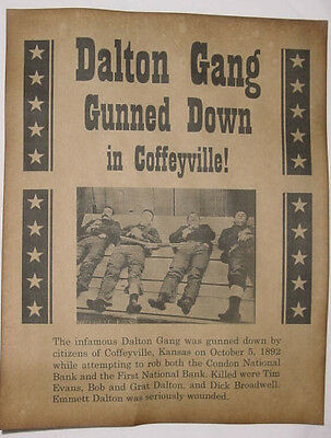 Dalton Gang Gunned Down in Coffeyville Kansas Poster, old west, western, wanted