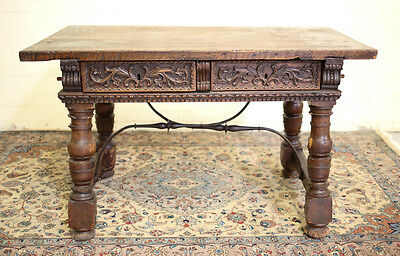 18th Century Continental Rustic Desk (possibly Italian) with iron supports