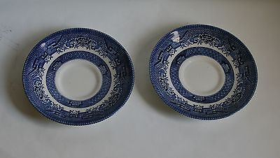 Set Of 2 Churchill Blue Made In England Porcelain Saucers