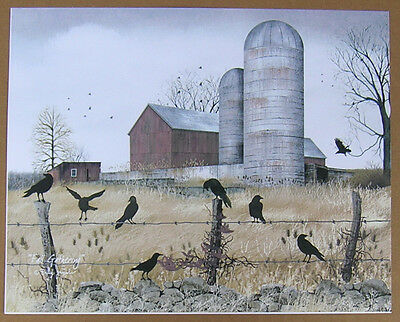 Billy Jacobs Fall Gathering Crows Unframed Country Primitive Print 8x10