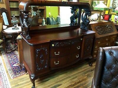RJ Horner Mahogany Griffin Carved Mirror Top Sideboard