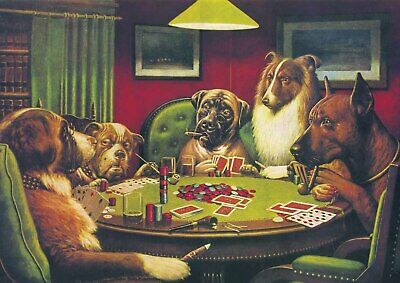 Dogs Playing Poker -  A4 size 21x29.7cm Vintage Canvas Art Print Poster Unframed