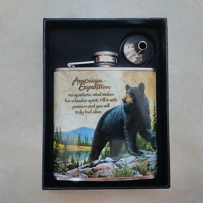 6OZ BLACK BEAR Stainless Steel Hip Flask Gift Set Liquor Wedding Party Drink