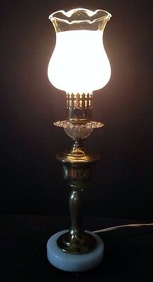 Vintage Marble Glass Globe With Glass Collar And Brass Stem Lamp Bed Side
