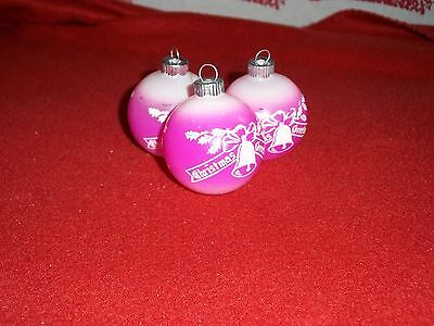 VINTAGE PINK SHINY BRITE MERRY CHRISTMAS WITH BELLS ORNAMENTS 2""