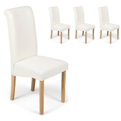 4 Ivory White Faux Leather Scroll Roll Top Dining Chairs Oak Leg Free Delivery