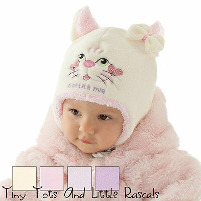 Baby Girls Infant Pretty Fleece Winter Hat Bow Ear Flaps Occasion Size 0-12 mths